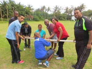 People doing team building activity