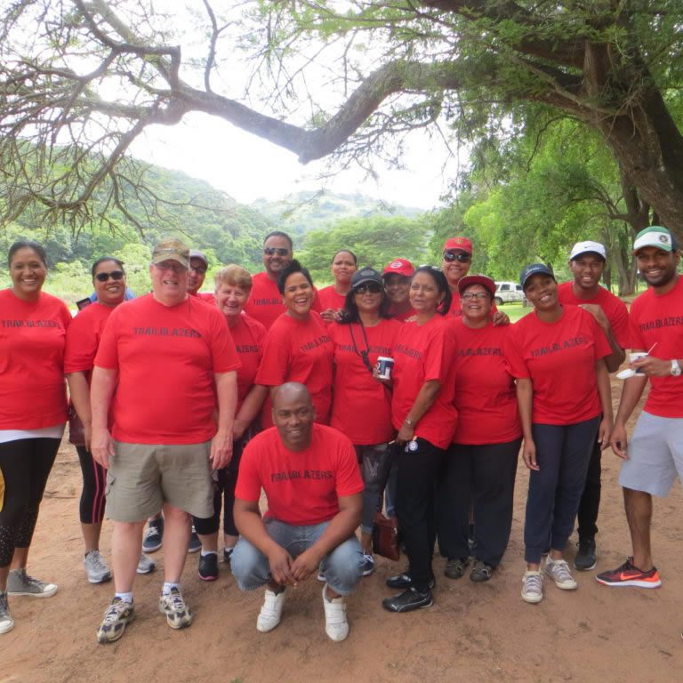 Group of people in red shirts