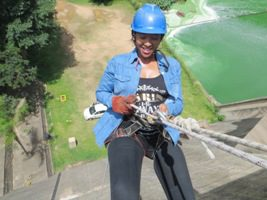 Woman abseiling