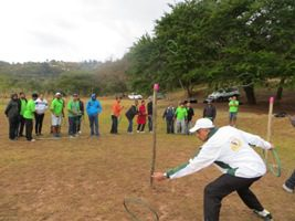 Man doing team building exercise